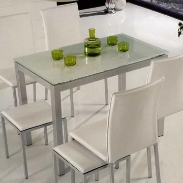Mesa de cocina metalica con tapa de cristal for Mesas para cocinas estrechas