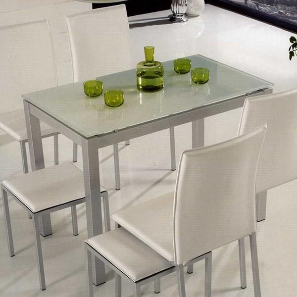 mesa de cocina metalica con tapa de cristal