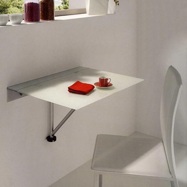 mesa de cocina abatible con tapa de cristal