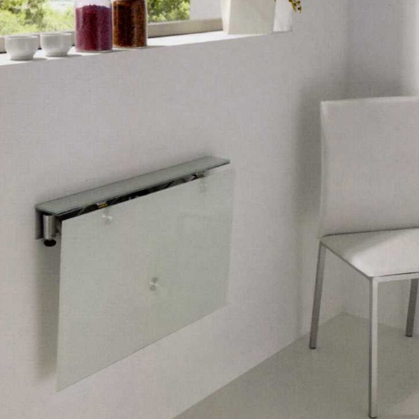 Mesa de cocina abatible con tapa de cristal - Mesas de cocina plegable ...