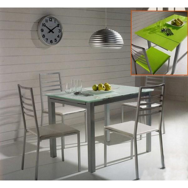 Conjunto cocina de mesa extensible 2 sillas y y taburetes for Conjunto mesa y sillas cocina carrefour