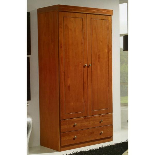 Armario de 2 puertas abatibles con cajones en pino for Armarios puertas abatibles