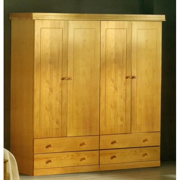 armario de 4 puertas abatibles con cajones en pino