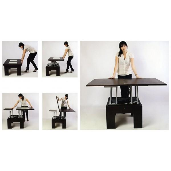 Mesa de centro convertible a mesa de salon de 4 posiciones - Mesas plegables para salon ...