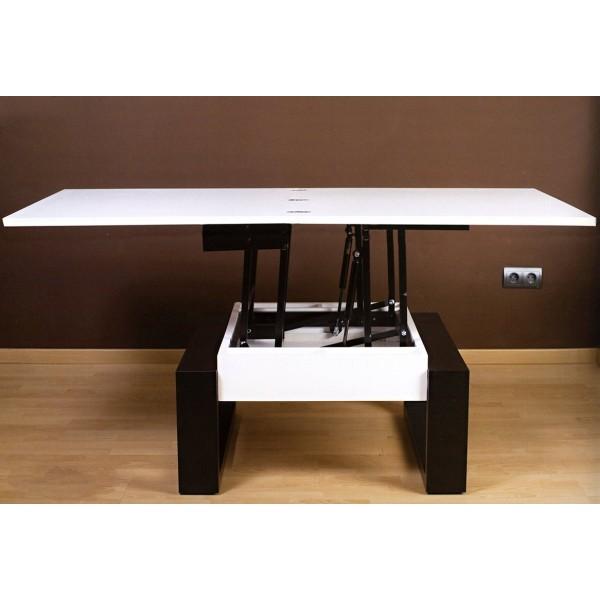 Mesa de centro cuadrada convertible en salon en 4 posiciones - Mesa centro cuadrada ...