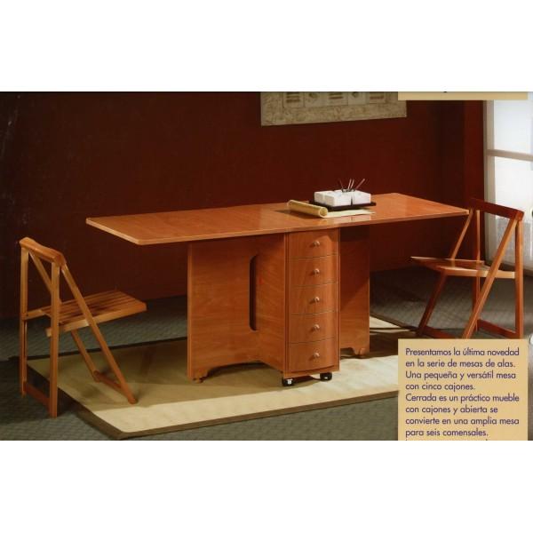 Mesa de alas abatibles con cajones y ruedas - Mesa auxiliar con cajones ...