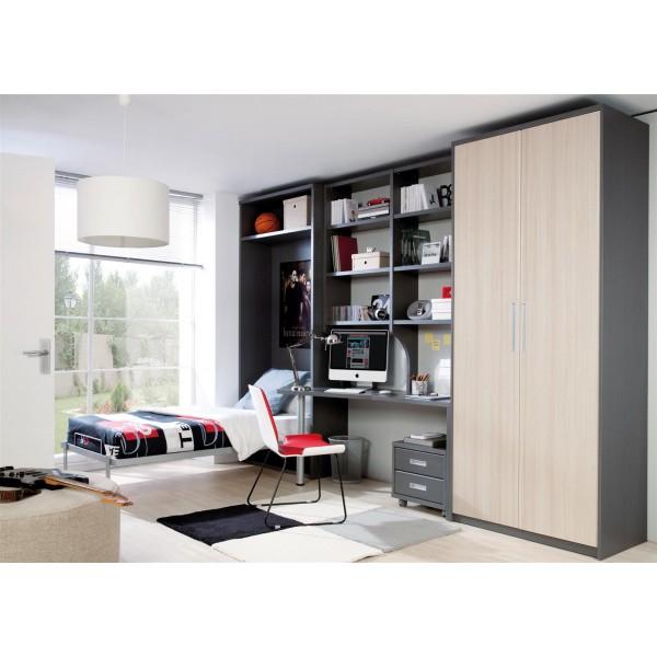 Habitacion juvenil con cama abatible y armario y escritorio - Habitacion juvenil cama abatible ...