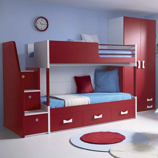 cama litera juvenil en madera con escalera de cajones