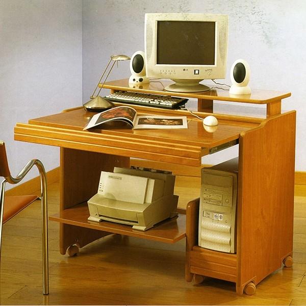 Mesa de ordenador multifuncional con ruedas muy robusta en for Mesas de ordenador pequenas