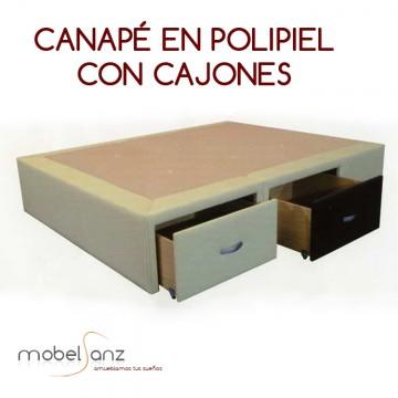 CANAPÉ EN POLIPIEL CON CAJONES