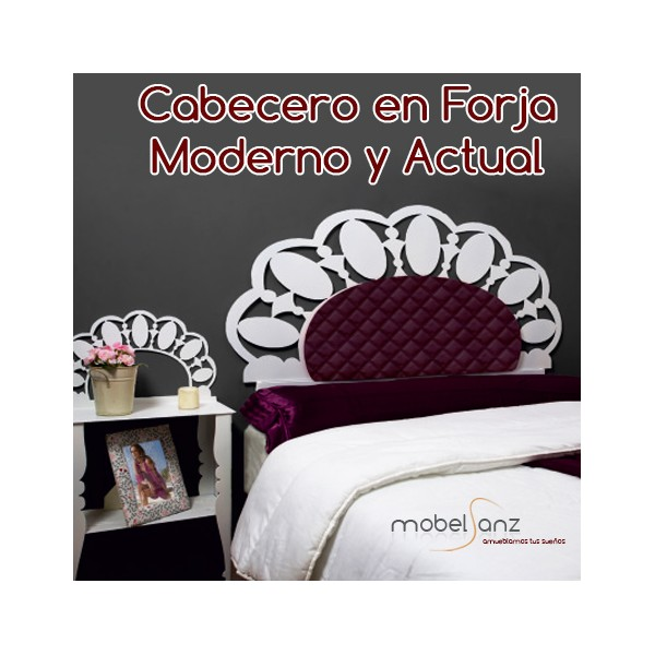 Cabecero en forja tapizado moderno coral - Cabeceros forja modernos ...