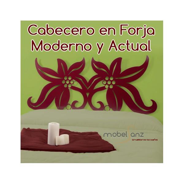Cabecero de forja flores moderno barato ayelen - Cabecero forja moderno ...