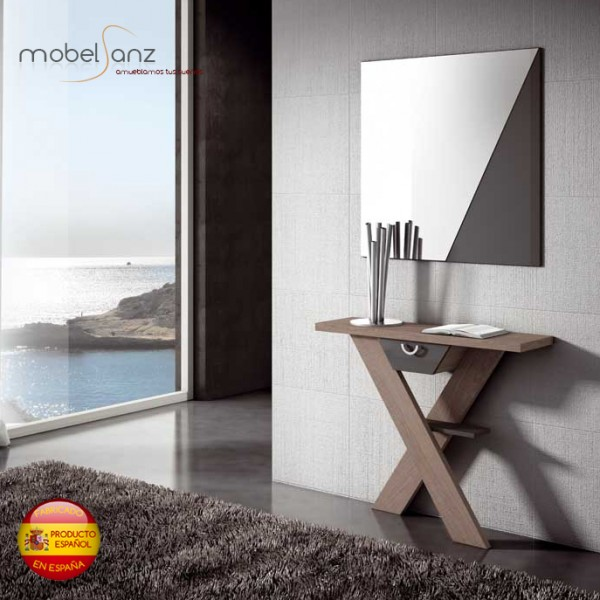 Recibidor consola con espejos y cajones moderno for Recibidores modernos con espejos