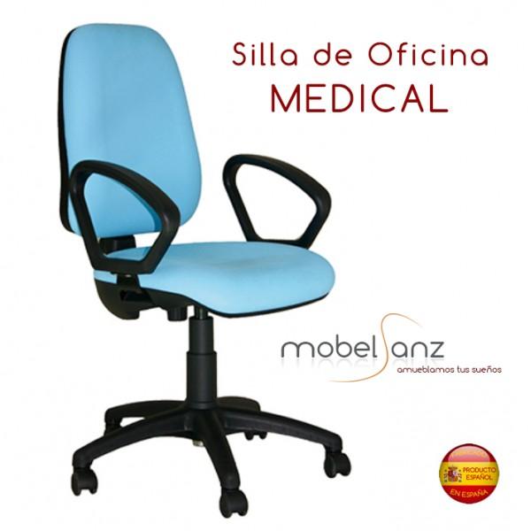 silla de oficina con ruedas giratoria tapizada