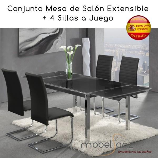 Conjunto mesa de y 4 sillas de cocina de cristal for Mesa de cristal y 4 sillas