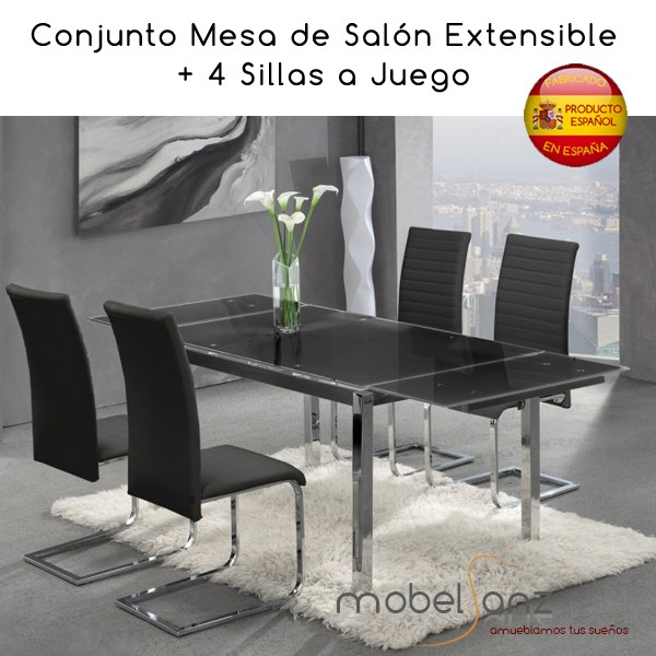 Mesa extensible de cristal de salon o cocina for Mesas extensibles salon