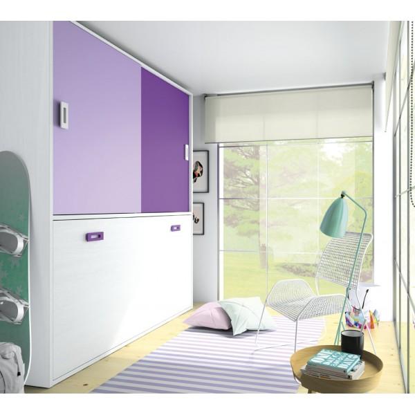 Cama juvenil abatible horizontal con armario - Armario con cama ...