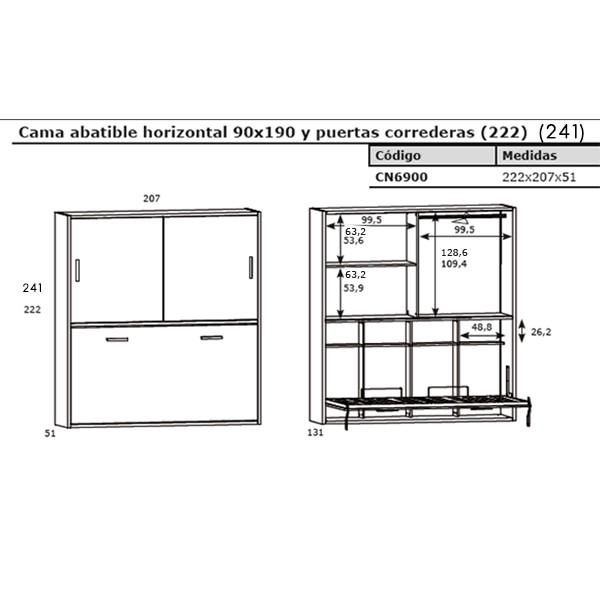 Cama juvenil abatible horizontal con armario for Medidas cama juvenil