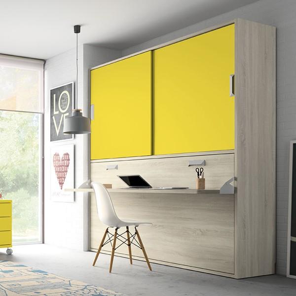 Cama juvenil abatible horizontal con escritorio y armario for Habitacion completa para adultos barata
