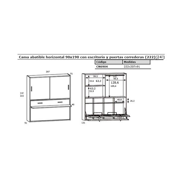 Cama juvenil abatible horizontal con escritorio y armario for Medidas cama juvenil