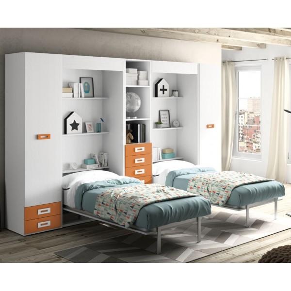 Camas abatibles verticales doble con armarios - Armario cama abatible ...