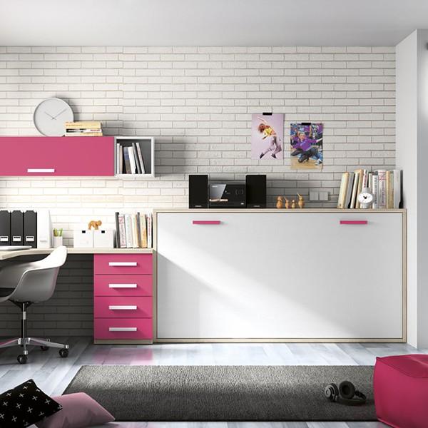 Cama juvenil abatible horizontal con escritorio - Escritorio abatible ...