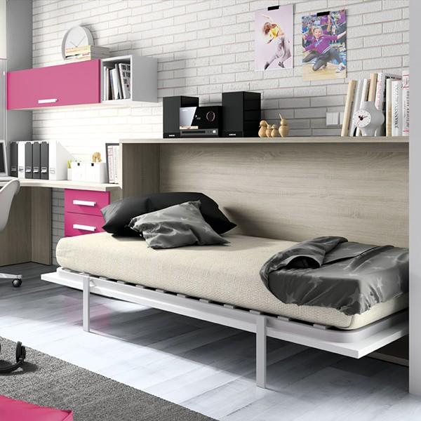 Cama juvenil abatible horizontal con escritorio - Habitaciones juveniles camas abatibles horizontales ...