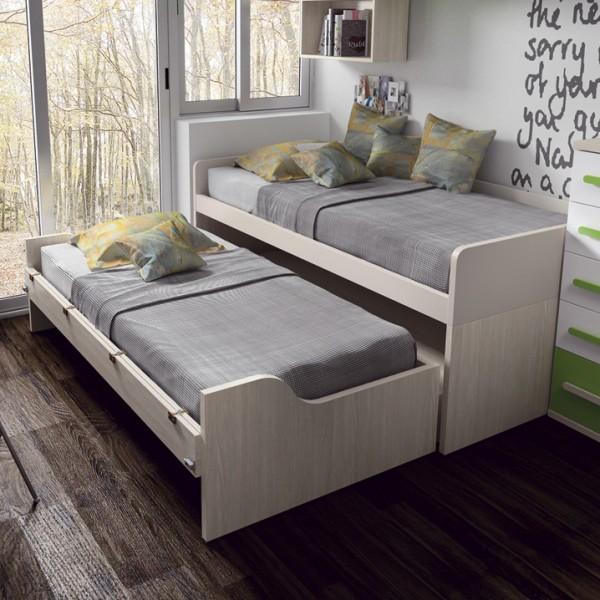 Cama compacta juvenil con 4 cajones for Medidas cama compacta