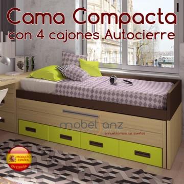 CAMA CAMPACTA JUVENIL CON 4 CAJONES AUTOCIERRE