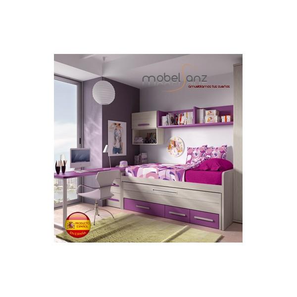 Cama compacta juvenil con 3 cajones con guias metalicas y for Sillon cama con cajones