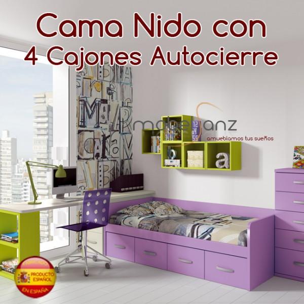 Cama nido juvenil con 4 cajones autocierre for Cama nido con cajones ikea