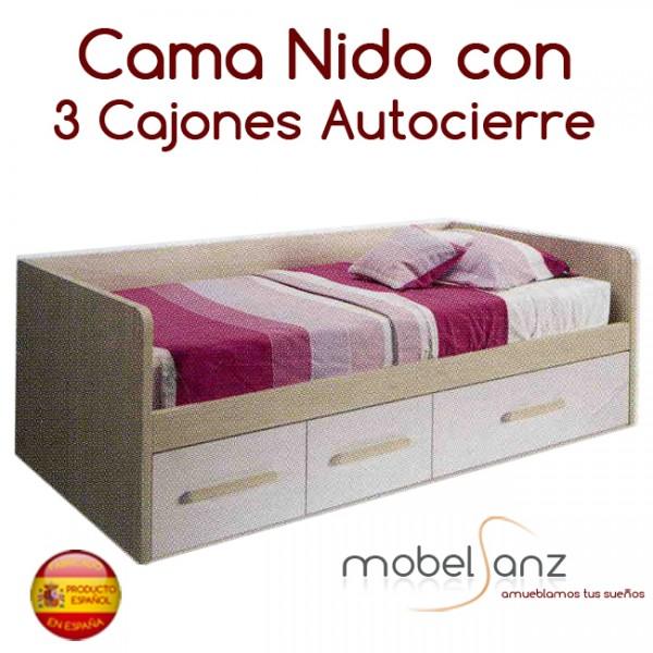 Cama nido juvenil con 3 cajones autocierre for Cama juvenil doble con cajones