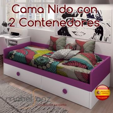 CAMA NIDO CON 2 CONTENEDORES