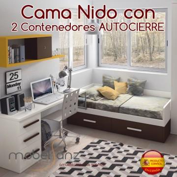 CAMA NIDO CON 2 CONTENEDORES AUTOCIERRE