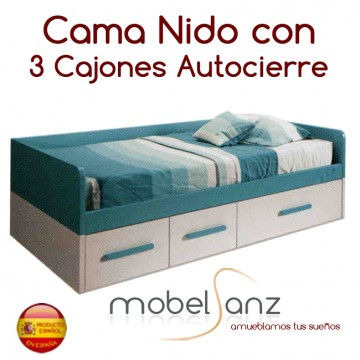 Cama nido juvenil con 3 cajones autocierre - Cama 90 con cajones ...