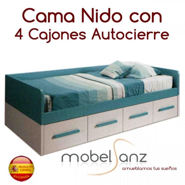 Cama nido juvenil con 4 cajones con guias metalicas y for Cama nido con cajones ikea