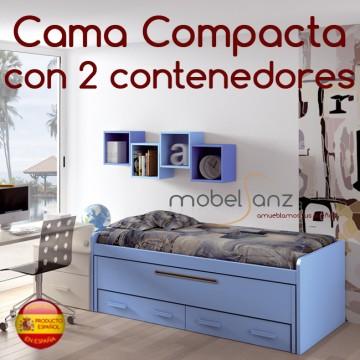 Cama compacto juvenil con 2 contenedores o cajones for Medidas cama compacta
