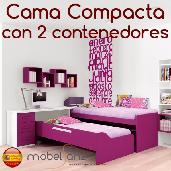Cama compacto juvenil con 2 contenedores o cajones - Cama juvenil con cajones ...