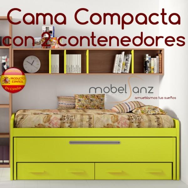Cama compacto juvenil con 2 contenedores o cajones for Cama juvenil con cajones