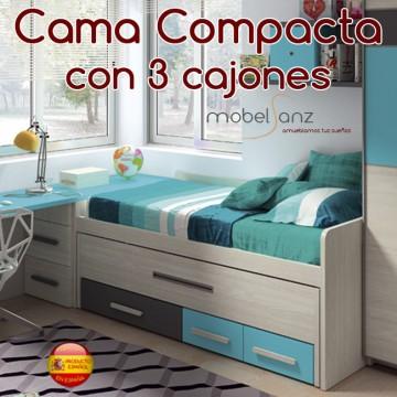 Cama compacto juvenil con 3 contenedores o cajones - Camas compactas con cajones ...