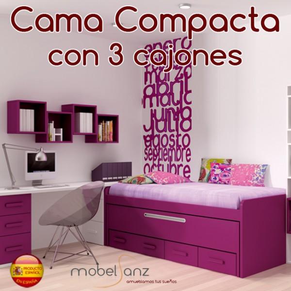 Cama compacto juvenil con 3 contenedores o cajones - Cama juvenil compacta ...