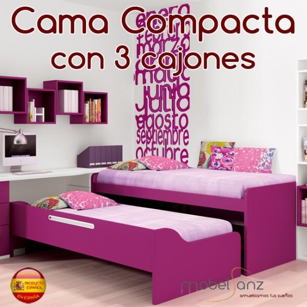 Cama compacto juvenil con 3 contenedores o cajones for Cama con cajones 90x190