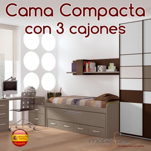 Cama compacto juvenil con 3 contenedores o cajones - Cama compacta con cajones ...