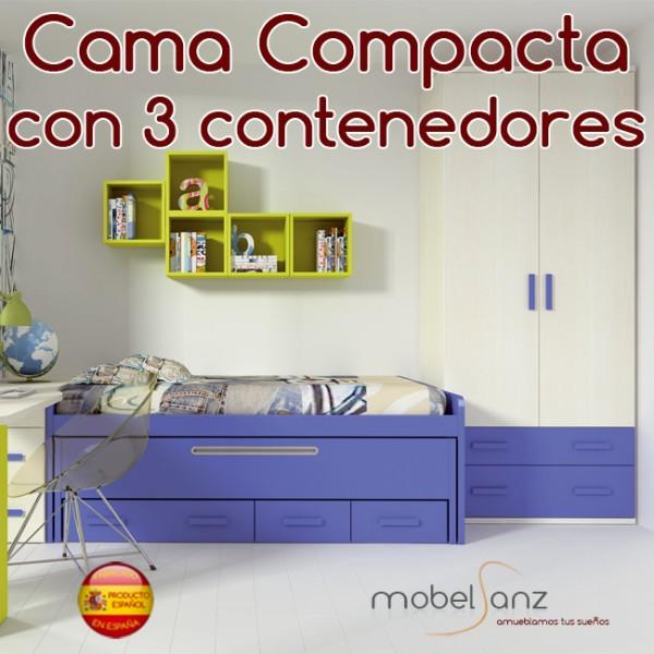 Cama compacto juvenil con 3 contenedores o cajones for Compacto juvenil oferta