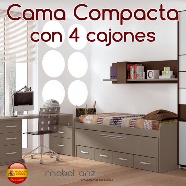 Cama compacto juvenil con 4 cajones con guias metalicas y - Cama juvenil con cajones ...