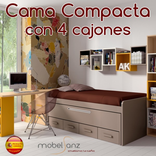 Cama compacto juvenil con 4 cajones con guias metalicas y for Sillon cama con cajones