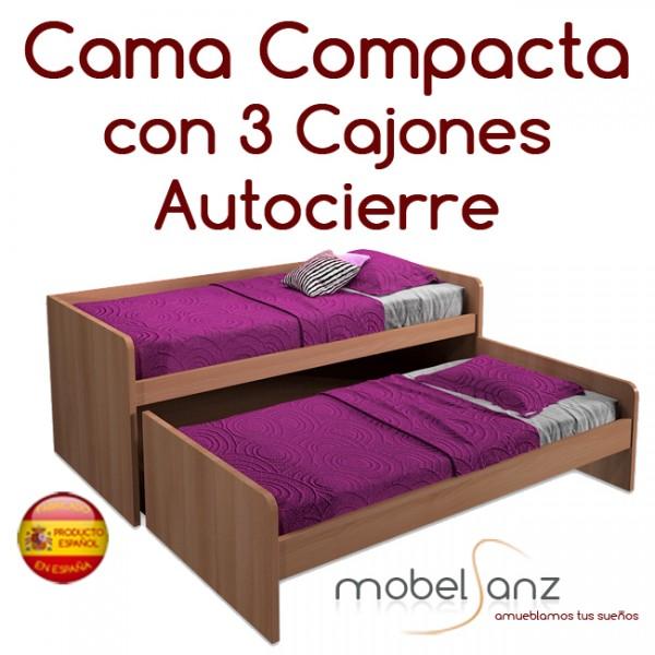 Cama compacto juvenil con 3 contenedores o cajones autocierre for Sillon cama con cajones