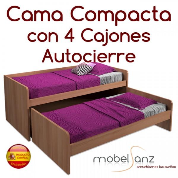 Cama compacto juvenil con 4 cajones con guias metalicas y for Cama con cajones 90x190