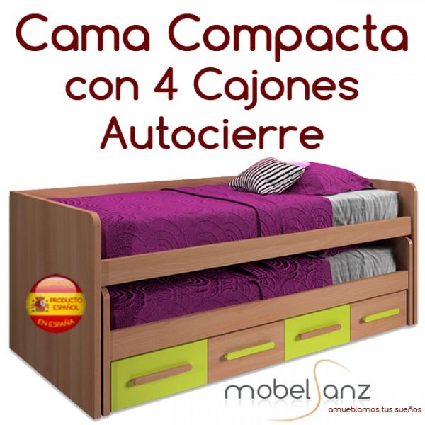 Cama compacto juvenil con 4 cajones con guias metalicas y for Compacto juvenil oferta