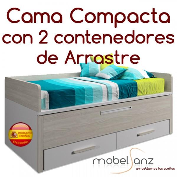 Cama compacta juvenil con 2 contenedores de arrastre for Medidas cama compacta
